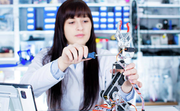 Scientist Photograph - Student Working In Robotics Laboratory by Wladimir Bulgar/science Photo Library