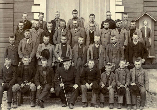 1890s Wall Art - Photograph - Students And Their Headmaster by Underwood Archives