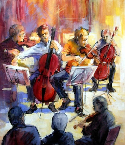Cellist Painting - Student's Concert by Podi Lawrence