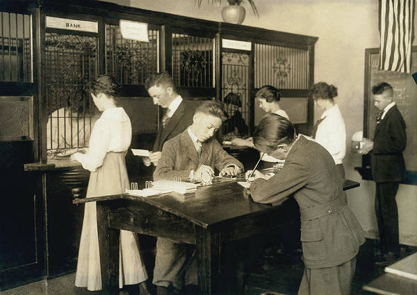 High School Photograph - Students Learn About Money by Underwood Archives