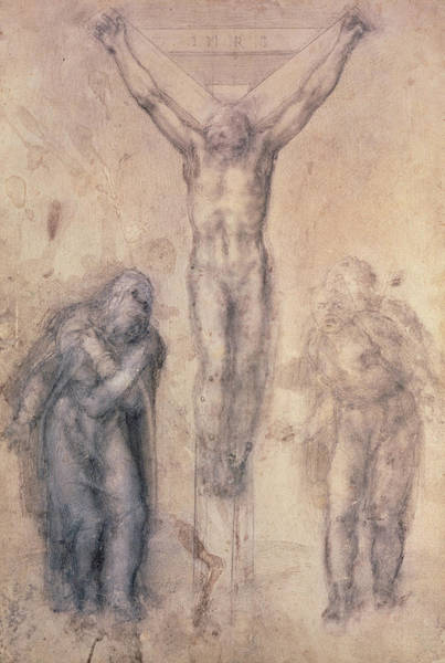 Renaissance Drawing - Study For A Crucifixion by Michelangelo Buonarroti