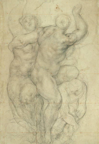 Renaissance Drawing - Study For A Group Of Nudes by Jacopo Pontormo