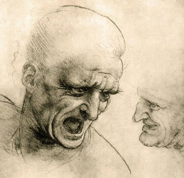 Wall Art - Drawing - Study For A Warrior's Head by Leonardo Da Vinci