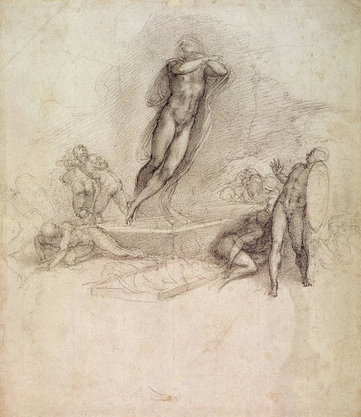 Miracle Drawing - Study For An Ascension by Michelangelo Buonarroti