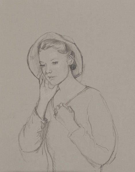 Jane Austen Wall Art - Drawing - Study For Elizabeth Bennet by Caroline Hervey Bathurst
