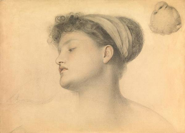 Colored Pencil Drawing Drawing - Study For Girl With Doves by Anthony Frederick Augustus Sandys