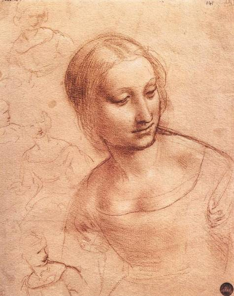 Galleria Painting - Study For Madonna With The Yarnwinder by Leonardo da Vinci