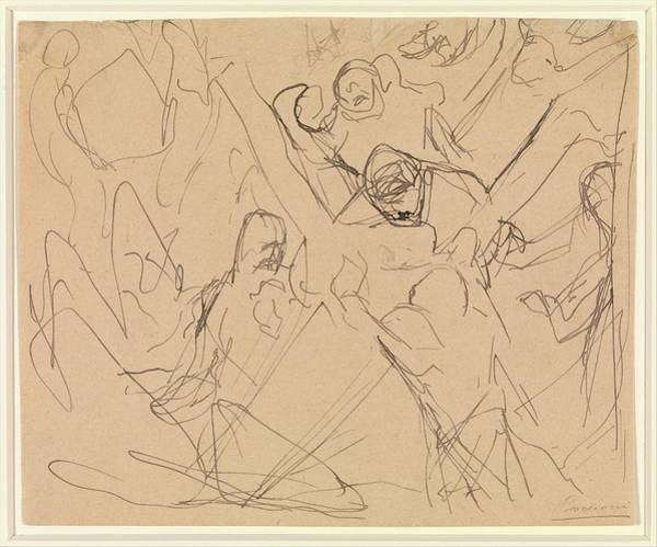 Boccioni Wall Art - Drawing - Study For Mourning by Umberto Boccioni