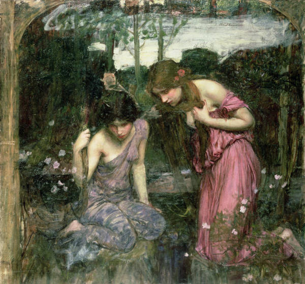 Pre Raphaelite Wall Art - Photograph - Study For Nymphs Finding The Head Of Orpheus, C.1900 Oil On Canvas by John William Waterhouse