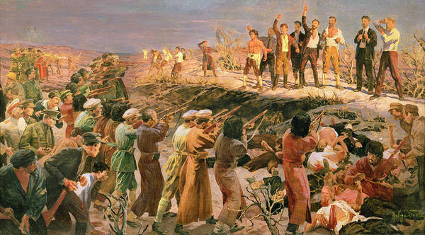 Communist Painting - Study For The Execution Of The Twenty Six Baku Commissars by Isaak Israilevich Brodsky
