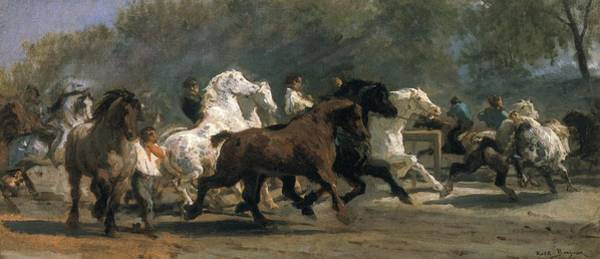 Chase Photograph - Study For The Horsemarket, 1900 Oil On Canvas by Rosa Bonheur