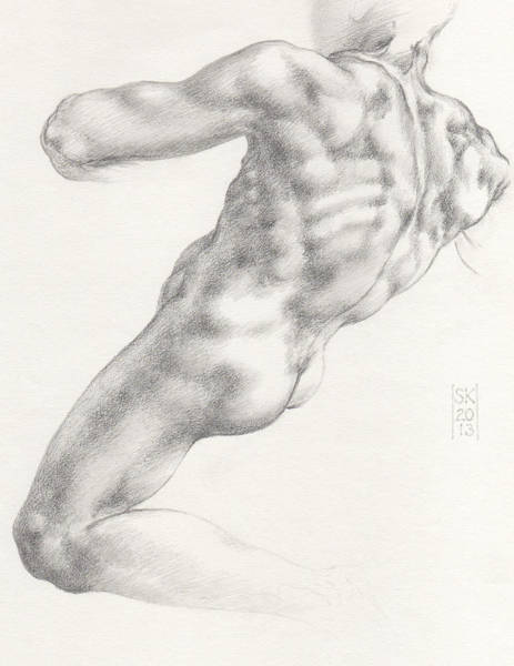 Drawing - Study For The Male Nude At Right Above The Persian Sibyl After Michelangelo Buonarotti by Scott Kirkman