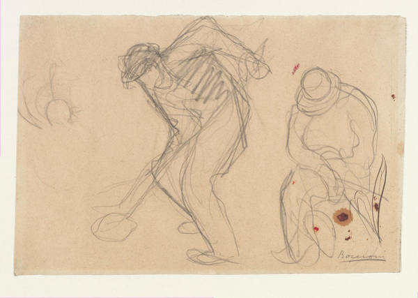 Boccioni Wall Art - Drawing - Study For The Street Pavers Two Workmen by Umberto Boccioni