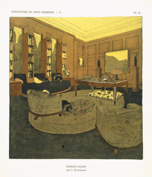 Interiors Drawing - Study, From Repertoire Of Modern Taste by Jacques-Emile Ruhlmann