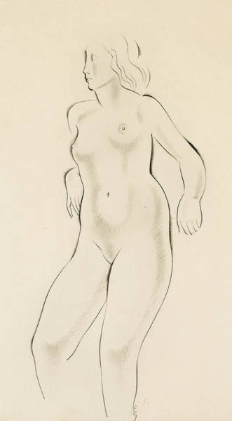 Sensual Drawing - Study Of A Female Nude by Eric Gill