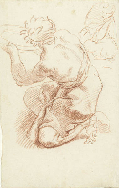 1715 Drawing - Study Of A Kneeling Man With Dish, Possibly Dionys Van by Quint Lox