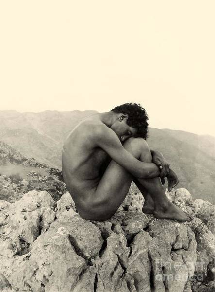 Wall Art - Photograph - Study Of A Male Nude On A Rock In Taormina Sicily by Wilhelm von Gloeden
