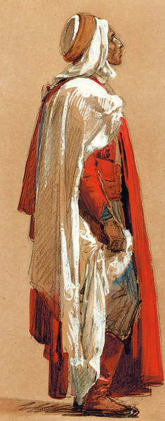 Arabian Drawing - Study Of A Man In Oriental Costume by Isidore Pils