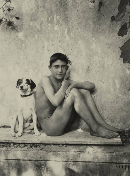 Study Of A Nude Boy With Dog Art Print