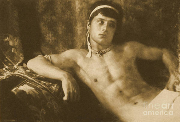 Headband Photograph - Study Of A Reclining Boy Wearing Jewelry by Wilhelm von Gloeden