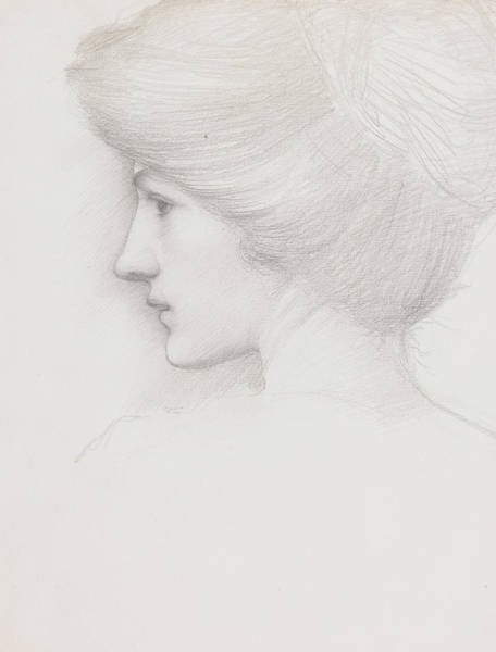 Wall Art - Drawing - Study Of A Woman's Head Profile To Left by Sir Edward Coley Burne-Jones