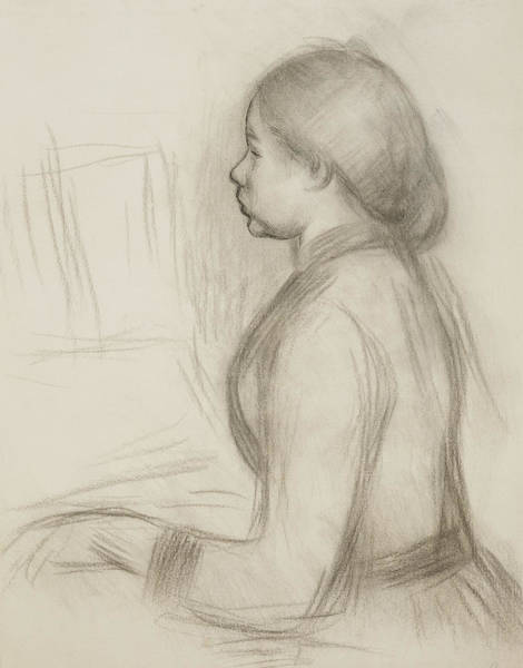 Impressionistic Drawing - Study Of A Young Girl At The Piano by Pierre Auguste Renoir