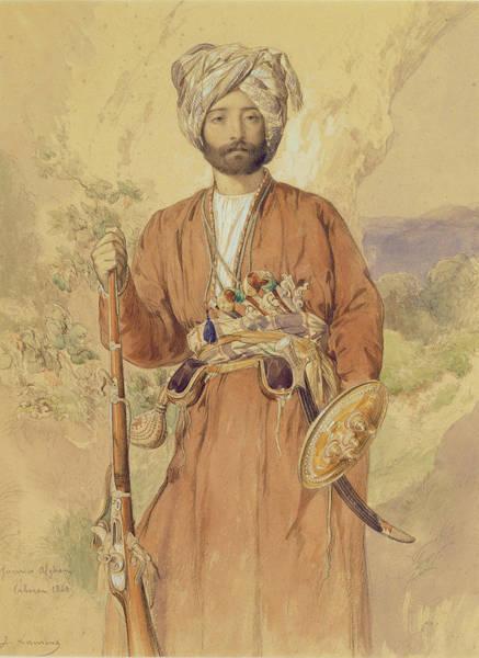 Soldier Drawing - Study Of An Afghan Warrior, Tehran, 1848 by Jules Joseph Augustin Laurens