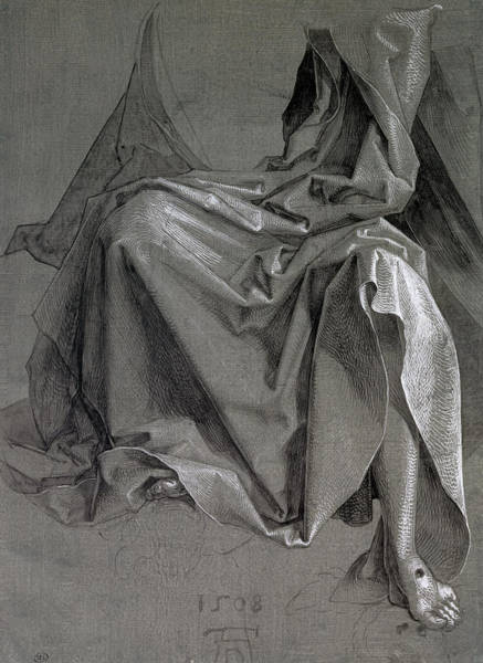 Wall Art - Photograph - Study Of The Robes Of Christ, 1508 Gouache And Ink On Paper by Albrecht D�rer or Duerer