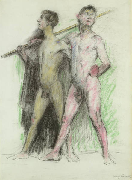 Sensual Drawing - Study Of Two Male Figures  by Lovis Corinth
