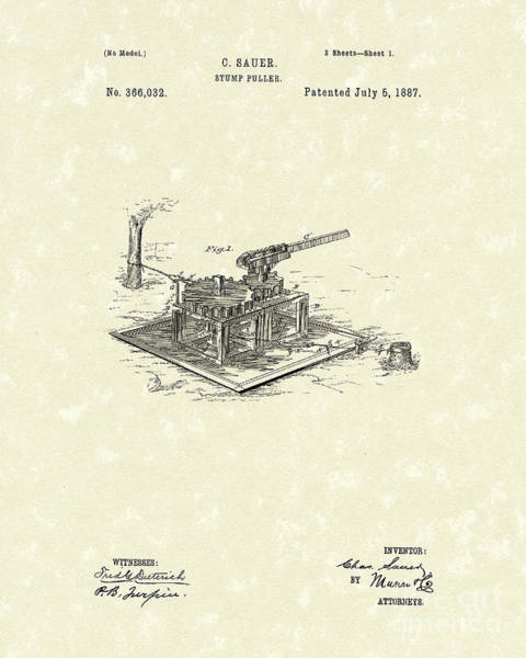 Wall Art - Drawing - Stump Puller 1887 Patent Art by Prior Art Design