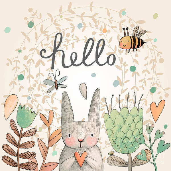 Blooms Digital Art - Stunning Card With Cute Rabbit by Smilewithjul