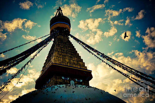 Photograph - Stupa Boudhanath At Evening In Kathmandu by Raimond Klavins