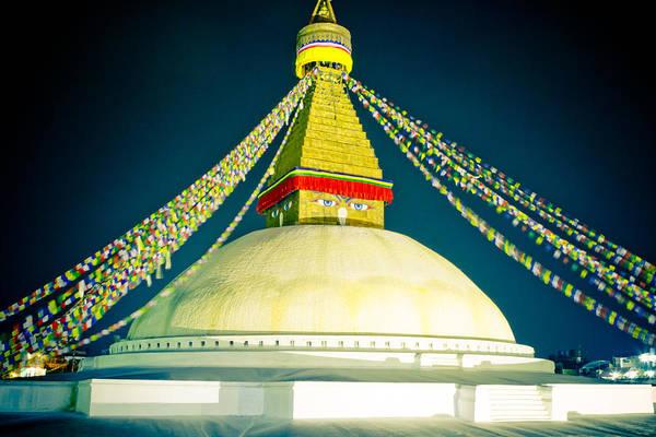 Photograph - Stupa Boudhanath At Night Nepal Kathmandu Muktianth Yatra 2013 Artmif.lv by Raimond Klavins