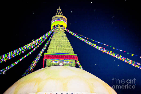 Photograph - Stupa Boudhanath At Night by Raimond Klavins