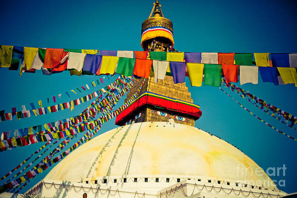 Photograph - Stupa Boudhanath With Lungta Prayer Flags by Raimond Klavins