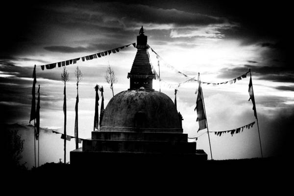 Photograph - Stupa In Himalyas Mountain Silhouette by Raimond Klavins