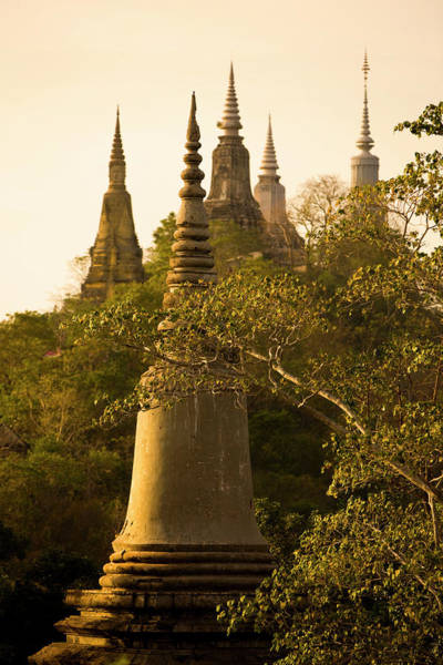Phnom Penh Photograph - Stupas At Sunset On Udong Hill by Peter Stuckings