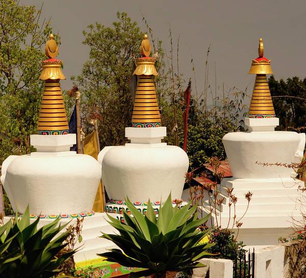 Wall Art - Photograph - Stupas In A Buddhist Monastery by Jaina Mishra