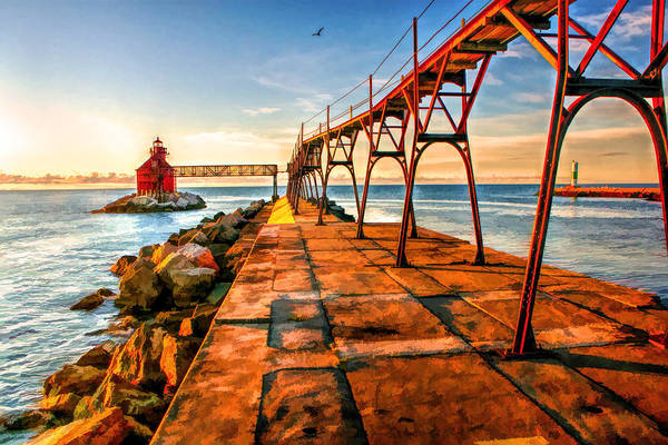 Painting - Sturgeon Bay Canal Pierhead Light by Christopher Arndt