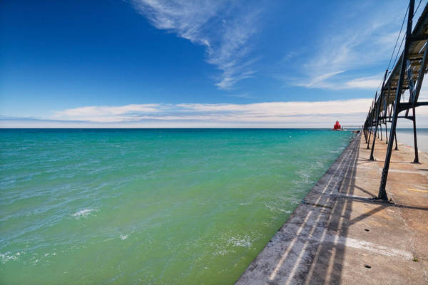 Photograph - Sturgeon Bay Lighthouse Pier by Lars Lentz