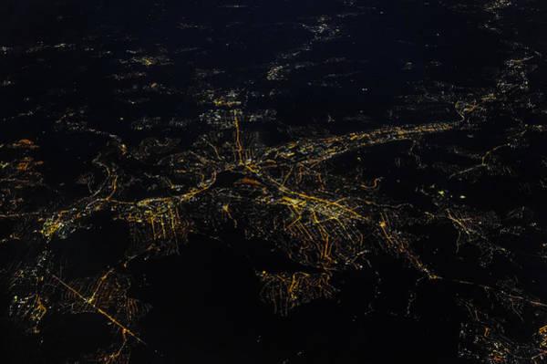 Stuttgart From The Air At Night Art Print by (c) Florian Leist