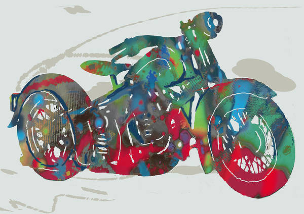 Trailer Drawing - Stylised Motorcycle Art Sketch Poster by Kim Wang
