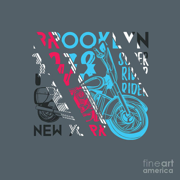 Biker Wall Art - Digital Art - Stylish Vector Illustration Of Vintage by Artem Kovalenco