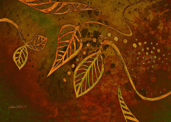 Leave Digital Art - Stylized Leaves Abstract Art  by Ann Powell