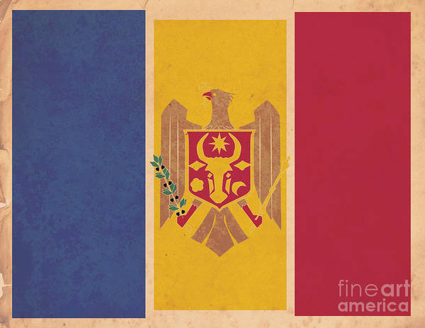 Moldova Wall Art - Digital Art - Stylized Moldovan Flag  by Megan C
