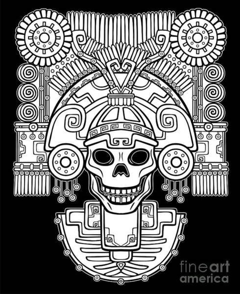 Myth Wall Art - Digital Art - Stylized Skull. Pagan God Of Death by Zvereva Yana
