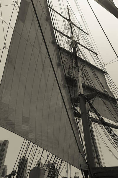 Rigging Photograph - Suare And Triangle Black And White Sepia by Scott Campbell