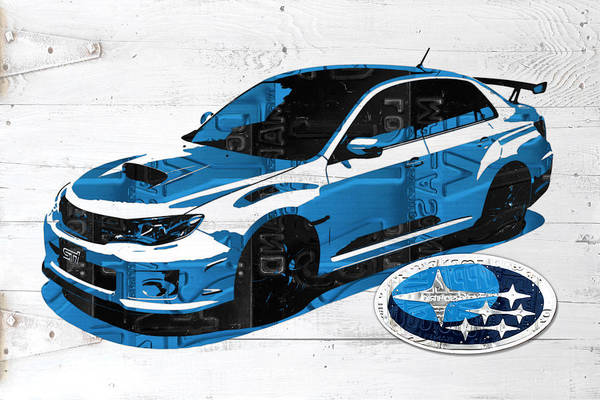 License Plate Mixed Media - Subaru Impreza Wrx Recycled License Plate Art On White Barn Door by Design Turnpike