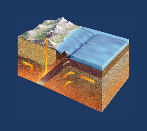 Active Volcano Photograph - Subduction Zone by David A. Hardy/science Photo Library