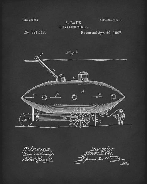 Drawing - Submarine By Lake 1897 Patent Art Black by Prior Art Design